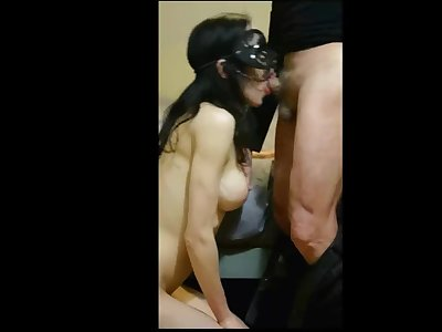 French Temptress seduces voyeur and gives him a deep throat blow job
