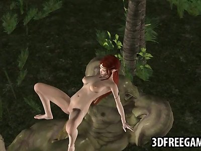 3D elf babe fucked by an orc