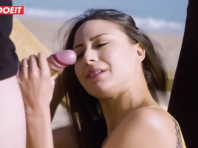 LETSDOEIT - French Babe Fucks A Voyeur On The Beach