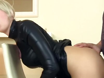 Cara Cum fuck in sexy vinyl dress