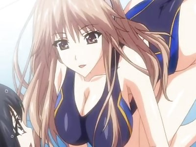Hentai cutie in swimsuit gives tittyfuck