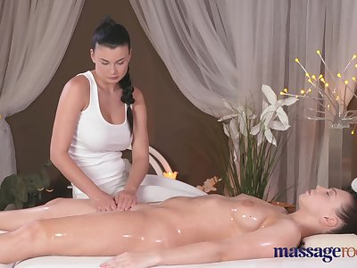 Massage Rooms Lesbian with big tits cums hard