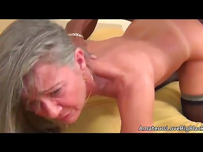 Grey haired granny luvs big black cock
