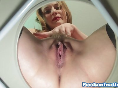 Demeaning femdom teases toilet victim