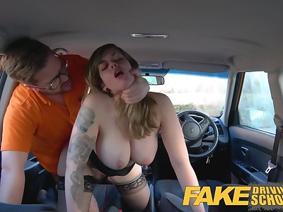 Fake Driving College 34F Boobs Juggling in driving lesson
