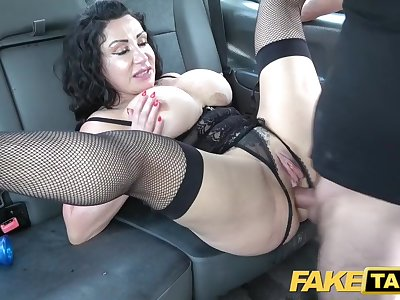 Fake Taxi Huge meaty pussy lips hang over and grasp big drivers dick