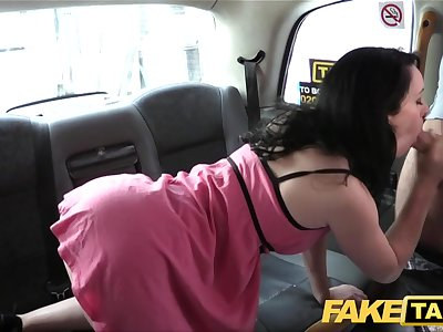 Fake Taxi Soddening wet creampie for hot brunette on first date in cab cab