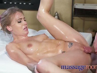 Massage Rooms Crazy oiled petite British woman fucked hard squirting