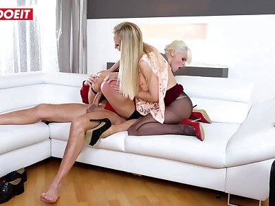 LETSDOEIT - StepDaddy Fucks Mommy And Daughter With His Big Cock