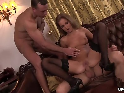Cock hungry Lauryn May ass fucked by two horny guys