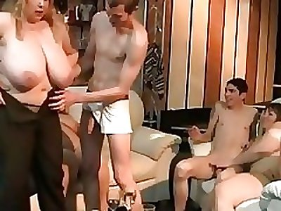 Gigantic light-haired rides and sucks cock at party
